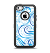 The Wild Blue Swirly Vector Water Pattern Apple iPhone 5c Otterbox Defender Case Skin Set