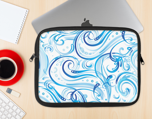 The Wild Blue Swirly Vector Water Pattern Ink-Fuzed NeoPrene MacBook Laptop Sleeve