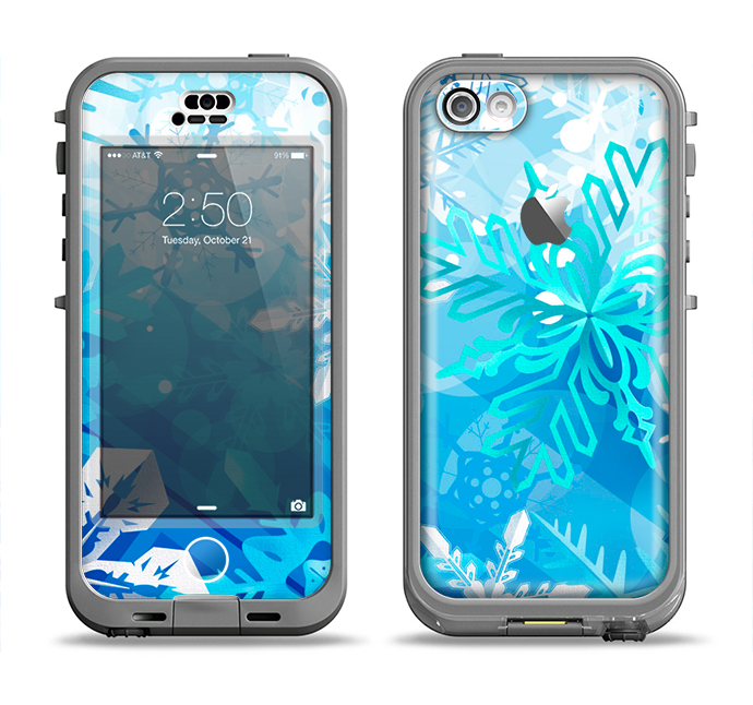 The Winter Abstract Blue Apple iPhone 5c LifeProof Nuud Case Skin Set