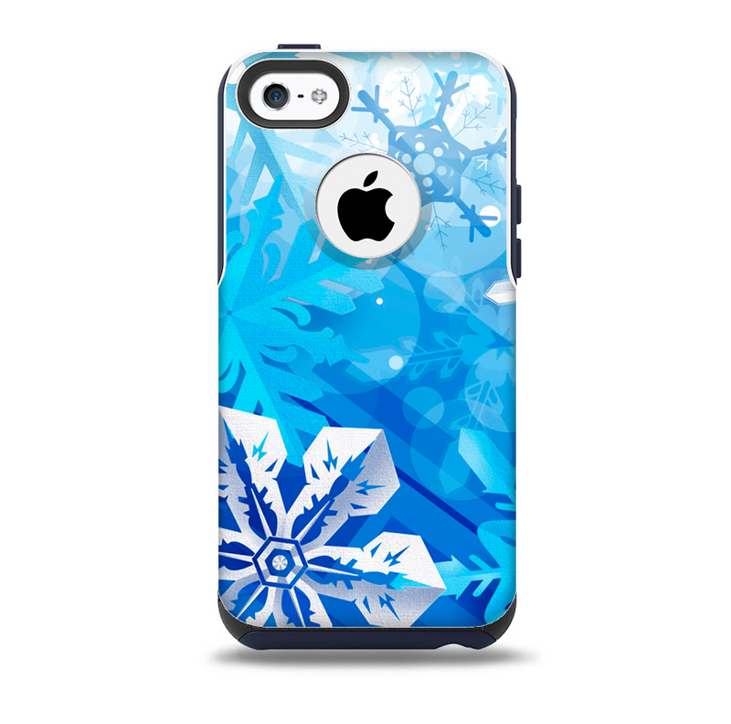 The Winter Abstract Blue Skin for the iPhone 5c OtterBox Commuter Case