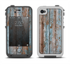 The Wood Planks with Peeled Blue Paint Apple iPhone 4-4s LifeProof Fre Case Skin Set