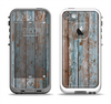The Wood Planks with Peeled Blue Paint Apple iPhone 5-5s LifeProof Fre Case Skin Set