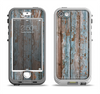 The Wood Planks with Peeled Blue Paint Apple iPhone 5-5s LifeProof Nuud Case Skin Set
