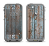 The Wood Planks with Peeled Blue Paint Apple iPhone 5c LifeProof Fre Case Skin Set