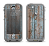 The Wood Planks with Peeled Blue Paint Apple iPhone 5c LifeProof Nuud Case Skin Set