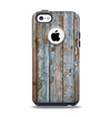 The Wood Planks with Peeled Blue Paint Apple iPhone 5c Otterbox Commuter Case Skin Set