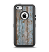 The Wood Planks with Peeled Blue Paint Apple iPhone 5c Otterbox Defender Case Skin Set