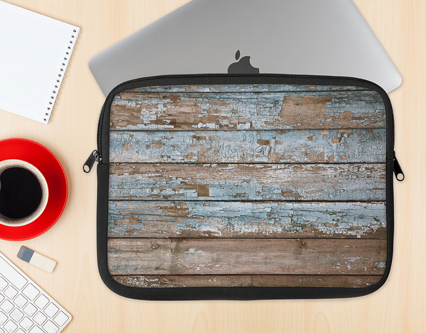 The Wood Planks with Peeled Blue Paint Ink-Fuzed NeoPrene MacBook Laptop Sleeve