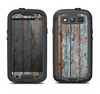 The Wood Planks with Peeled Blue Paint Samsung Galaxy S3 LifeProof Fre Case Skin Set
