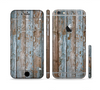The Wood Planks with Peeled Blue Paint Sectioned Skin Series for the Apple iPhone 6