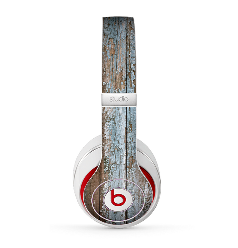 The Wood Planks with Peeled Blue Paint Skin for the Beats by Dre Studio (2013+ Version) Headphones