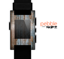 The Wood Planks with Peeled Blue Paint Skin for the Pebble SmartWatch es