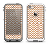 The Wood & White Chevron Pattern Apple iPhone 5-5s LifeProof Fre Case Skin Set