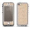 The Wood & White Chevron Pattern Apple iPhone 5-5s LifeProof Nuud Case Skin Set