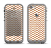 The Wood & White Chevron Pattern Apple iPhone 5c LifeProof Fre Case Skin Set