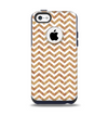 The Wood & White Chevron Pattern Apple iPhone 5c Otterbox Commuter Case Skin Set