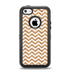 The Wood & White Chevron Pattern Apple iPhone 5c Otterbox Defender Case Skin Set