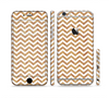 The Wood & White Chevron Pattern Sectioned Skin Series for the Apple iPhone 6