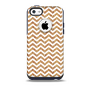 The Wood & White Chevron Pattern Skin for the iPhone 5c OtterBox Commuter Case