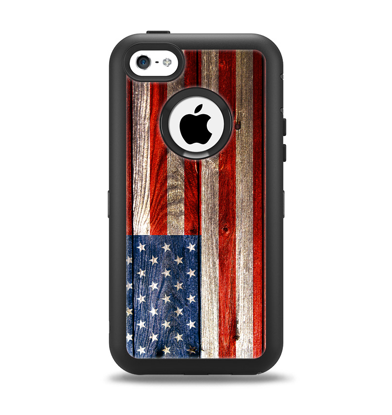 cheap for discount 63e38 d748f The Wooden Grungy American Flag Apple iPhone 5c Otterbox Defender Case Skin  Set