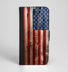 The Wooden Grungy American Flag Ink-Fuzed Leather Folding Wallet Case for the iPhone 6/6s, 6/6s Plus, 5/5s and 5c