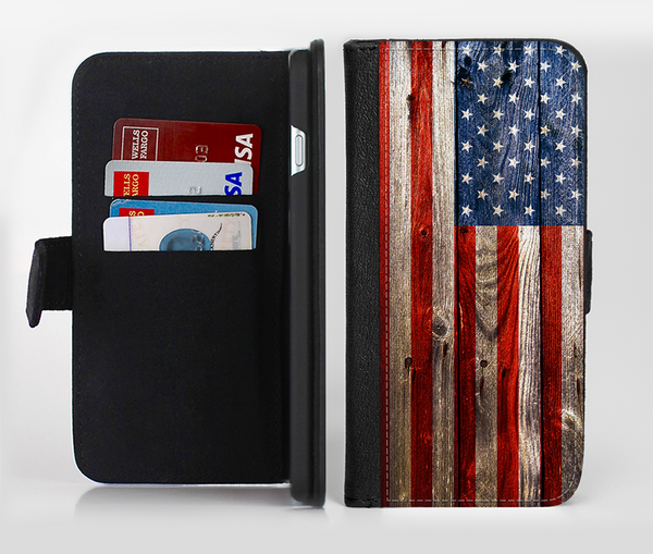 The Wooden Grungy American Flag Ink-Fuzed Leather Folding Wallet Credit-Card Case for the Apple iPhone 6/6s, 6/6s Plus, 5/5s and 5c