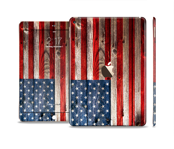 The Wooden Grungy American Flag Skin Set for the Apple iPad Pro