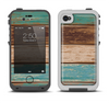 The Wooden Planks with Chipped Green and Brown Paint Apple iPhone 4-4s LifeProof Fre Case Skin Set