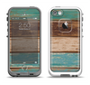 The Wooden Planks with Chipped Green and Brown Paint Apple iPhone 5-5s LifeProof Fre Case Skin Set