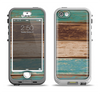 The Wooden Planks with Chipped Green and Brown Paint Apple iPhone 5-5s LifeProof Nuud Case Skin Set