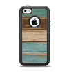 The Wooden Planks with Chipped Green and Brown Paint Apple iPhone 5c Otterbox Defender Case Skin Set