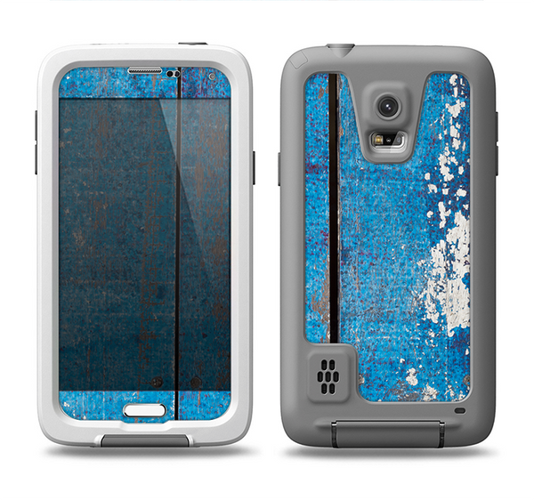 The Worn Blue Paint on Wooden Planks Samsung Galaxy S5 LifeProof Fre Case Skin Set