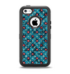 The Worn Dark Blue Checkered Starry Pattern Apple iPhone 5c Otterbox Defender Case Skin Set