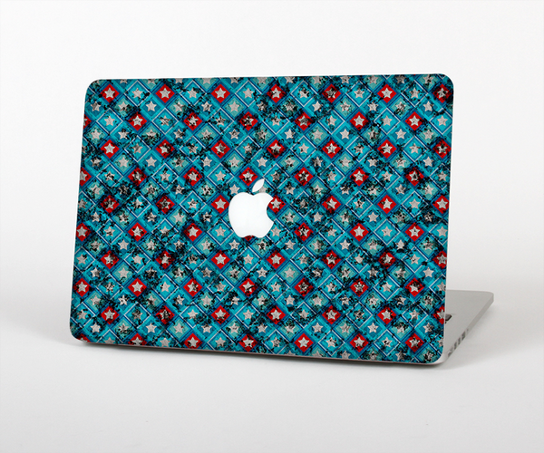 "The Worn Dark Blue Checkered Starry Pattern Skin Set for the Apple MacBook Pro 13"" with Retina Display"