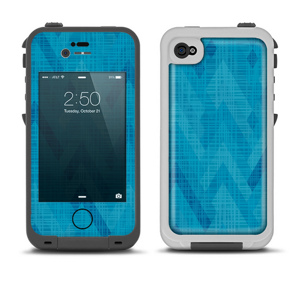 The Woven Blue Sharp Chevron Pattern V3 Apple iPhone 4-4s LifeProof Fre Case Skin Set