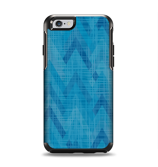 The Woven Blue Sharp Chevron Pattern V3 Apple iPhone 6 Otterbox Symmetry Case Skin Set