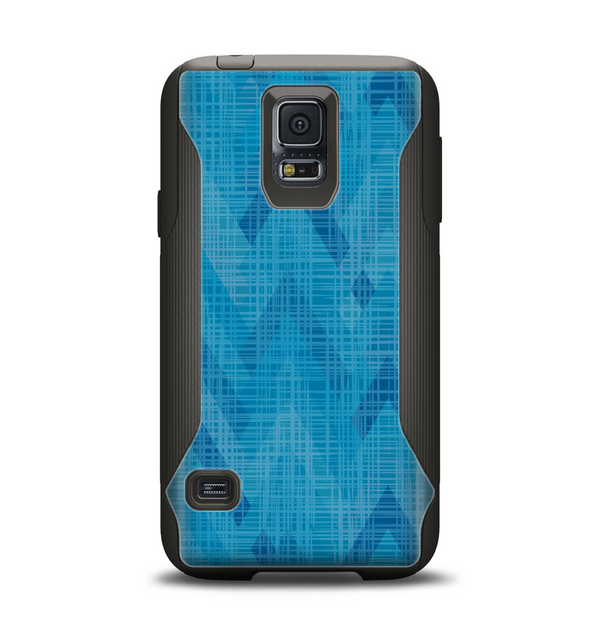 The Woven Blue Sharp Chevron Pattern V3 Samsung Galaxy S5 Otterbox Commuter Case Skin Set