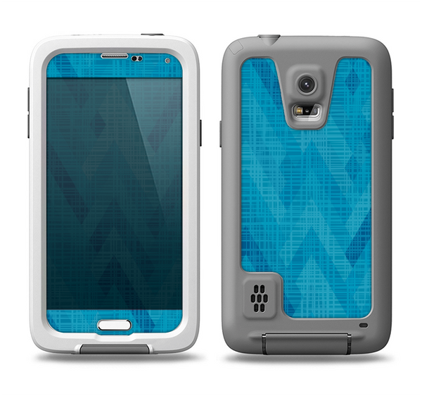 The Woven Blue Sharp Chevron Pattern V3 Samsung Galaxy S5 LifeProof Fre Case Skin Set