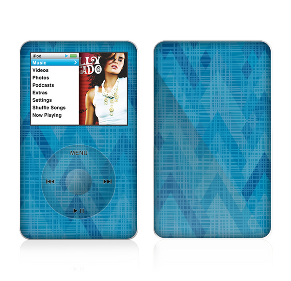 The Woven Blue Sharp Chevron Pattern V3 Skin For The Apple iPod Classic