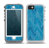 The Woven Blue Sharp Chevron Pattern V3 Skin for the iPhone 5-5s OtterBox Preserver WaterProof Case