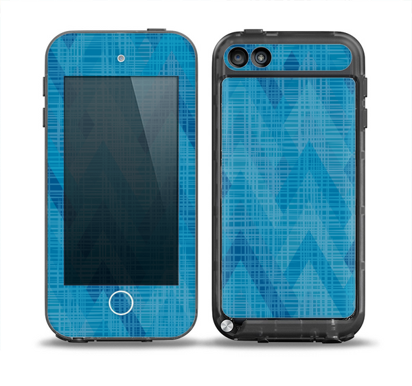 The Woven Blue Sharp Chevron Pattern V3 Skin for the iPod Touch 5th Generation frē LifeProof Case