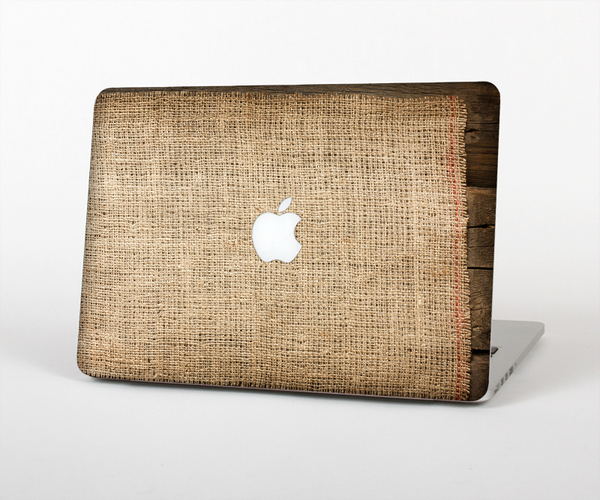 "The Woven Fabric Over Aged Wood Skin Set for the Apple MacBook Pro 13"" with Retina Display"
