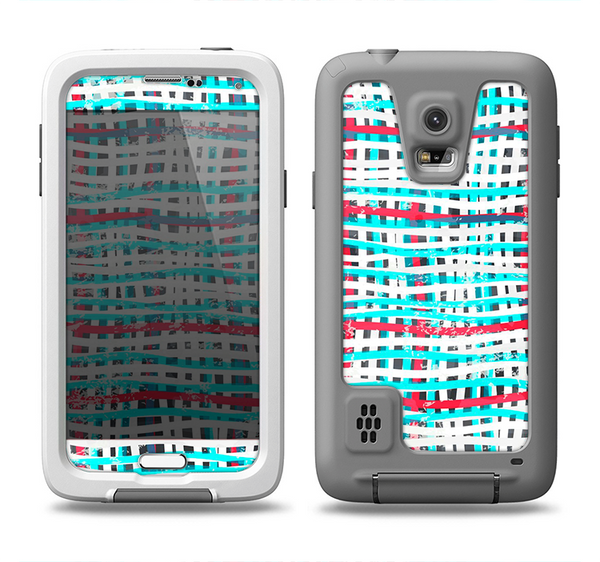 The Woven Trendy Green & Coral Samsung Galaxy S5 LifeProof Fre Case Skin Set