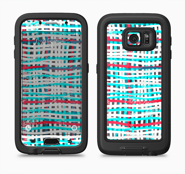 The Woven Trendy Green & Coral Full Body Samsung Galaxy S6 LifeProof Fre Case Skin Kit