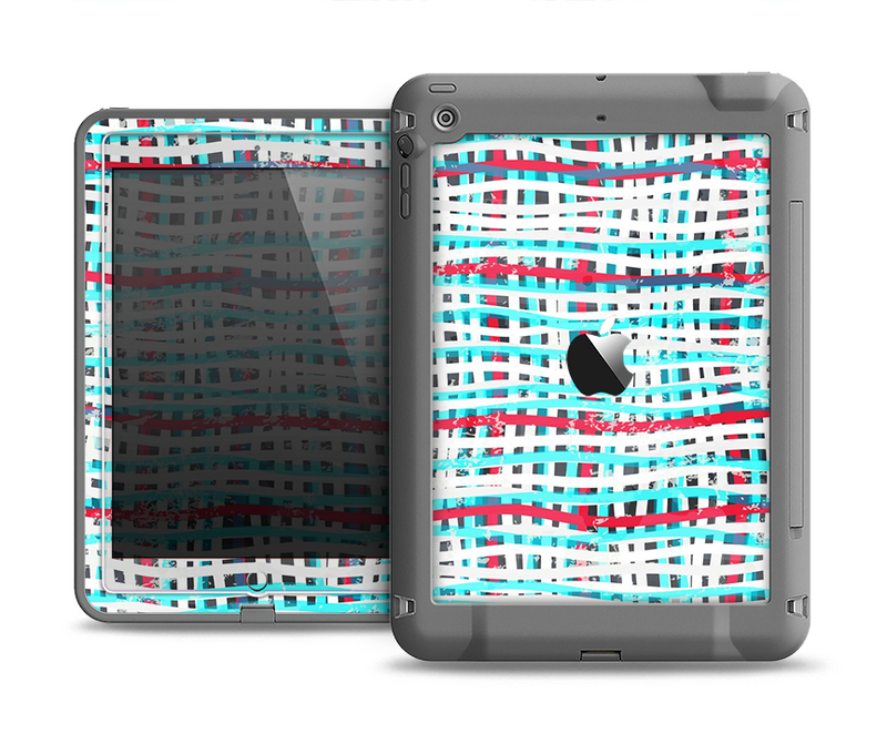 The Woven Trendy Green & Coral Apple iPad Air LifeProof Fre Case Skin Set