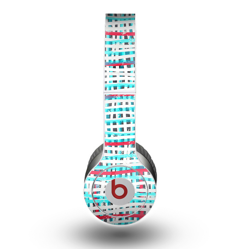 The Woven Trendy Green & Coral Skin for the Beats by Dre Original Solo-Solo HD Headphones