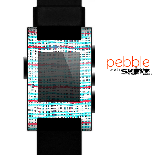 The Woven Trendy Green & Coral Skin for the Pebble SmartWatch