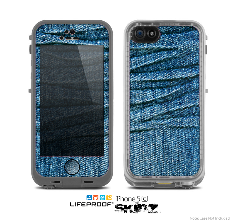 The Wrinkled Jean texture Skin for the Apple iPhone 5c LifeProof Case