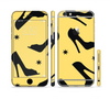 The Yellow & Black High-Heel Pattern V12 Sectioned Skin Series for the Apple iPhone 6 Plus