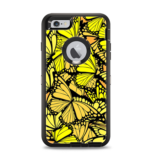 The Yellow Butterfly Bundle Apple iPhone 6 Plus Otterbox Defender Case Skin Set